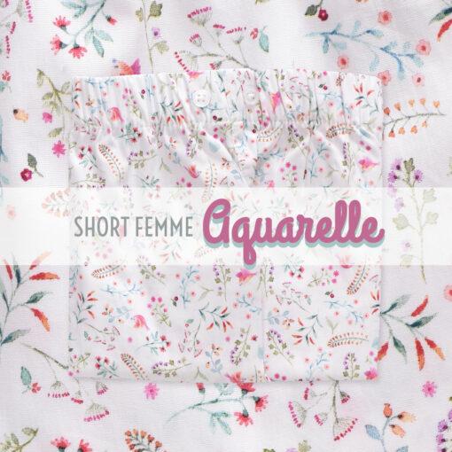 Short femme pyjama aquarelle