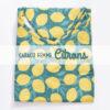 Top femme fleurs en coton imprimé citron