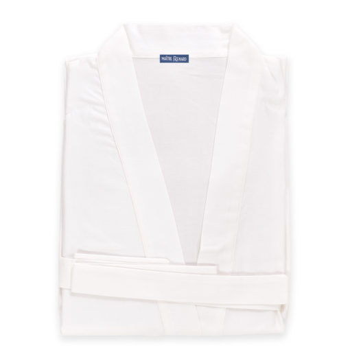 Kimono en satin de coton uni crème