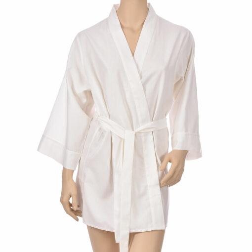 Kimono en satin de coton uni crème Kimono haut de gamme en coton très doux et naturel. Déshabillé en satin chic et classe