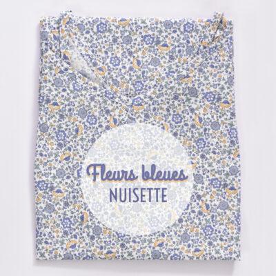 Nuisette femme en voile de coton fleurs bleues