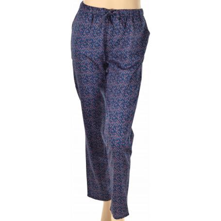 bas de pyjama en coton fleurs rouge et bleu