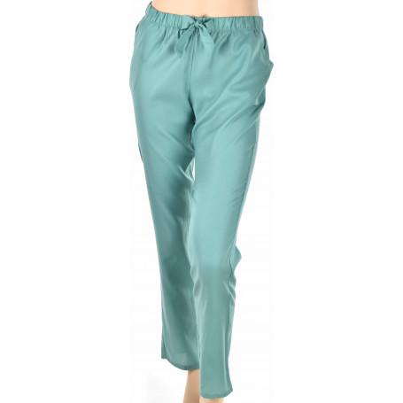 Pantalon femme satin vert